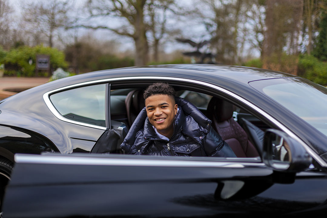 We're taking up-and-coming football talent Jude Russell for a spin in the Bentley Continental GT to The Wisley.