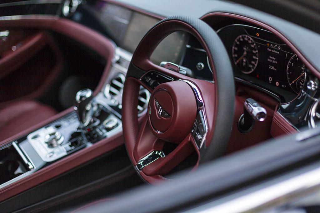 Luxurious leather interior of the Bentley Continental GT